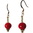 Red Coral Polished, Czech Glass Mini Beads 22k. Gold Plates Hooks Earrings
