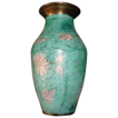 Vintage Japanese Enamel Brass Green Aqua Flower Vase.