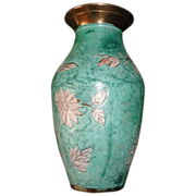 REDUCED Vintage Japanese Enamel Brass Green Aqua Flower Vase.