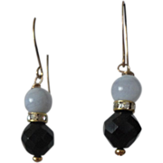 Onyx And Blue Agate Beads Hook Earring Set.