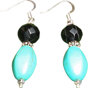 SALE Faceted Onyx and Turquoise Silver Plated  Hook Earrings