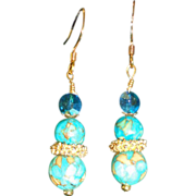 Polished Turquoise,Vintage Crystal,Bali Spacer Drop Hooks Earrings.
