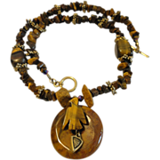 Tiger Eye Chip and Beads, Round Bird Pendant Necklace.