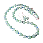 REDUCED Necklace Set designed in Aventurine and Crystals Beads.