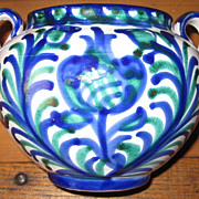 REDUCED Round Hand Painted Blue and Green Pomegranate Ceramic Vase.