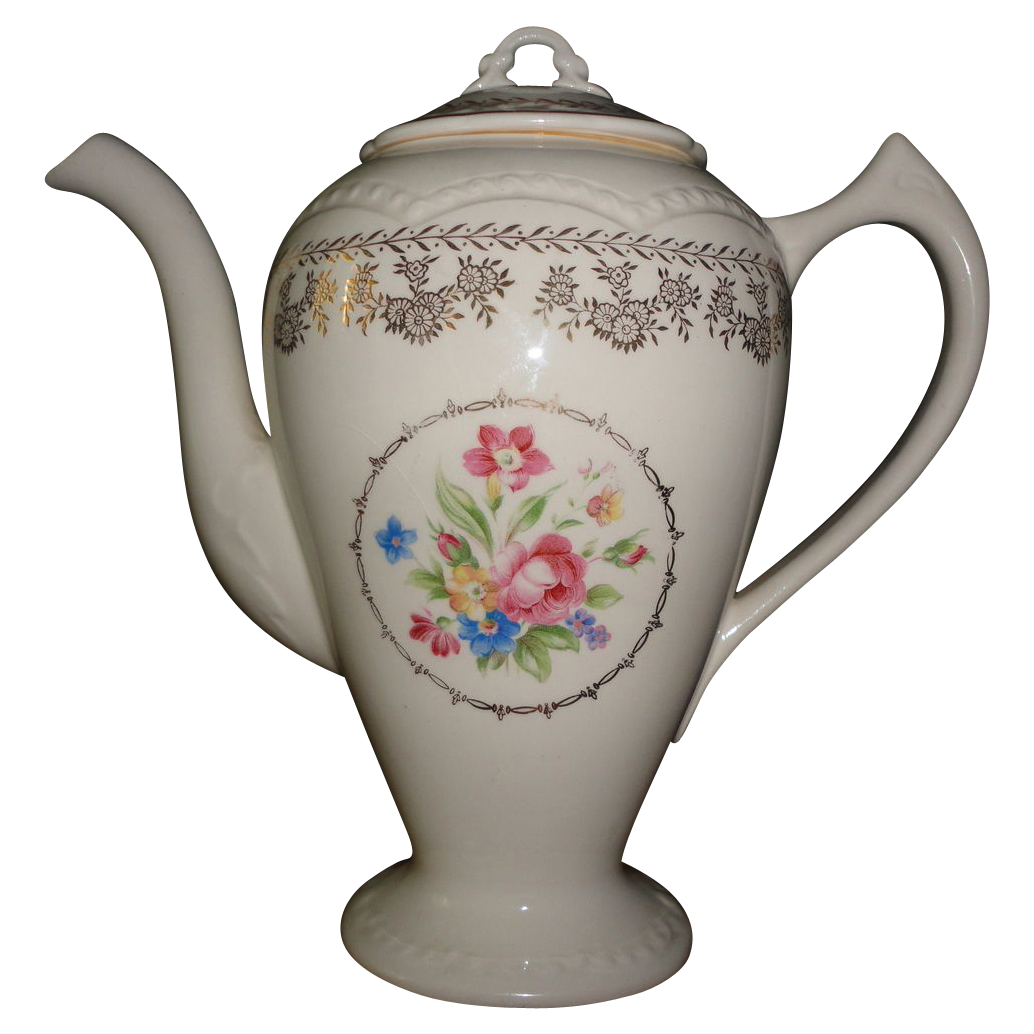 Vintage Tall Ceramic Hand Painted Flower Motive Tea Pot.