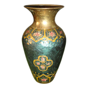 REDUCED Vintage Japan Made Enamel Cloisonne Brass Vase