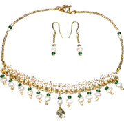 REDUCED Stunning Emeralds, Crystals, Cultured Pearls And Czech Glass Necklace Set
