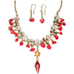 Exquisite Bali Crystals Corals And Czech Mini Glass Necklace Set.