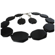 REDUCED Onyx Octagon-Shaped Silver Tone Necklace Earrings Set