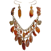 REDUCED Exquisite Carnelian Nuggets Gold Tone Necklace Earrings Set.