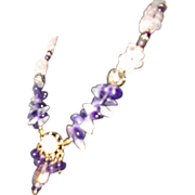 REDUCED Rose Quartz And Amethyst Necklace Earrings Set.