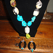 Gorgeous Turquoise In Different Colors Necklace Earrings Set.