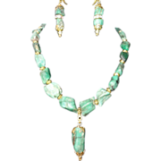REDUCED Fancy Raw Uncut Precious Emeralds Necklace Earrings Set.