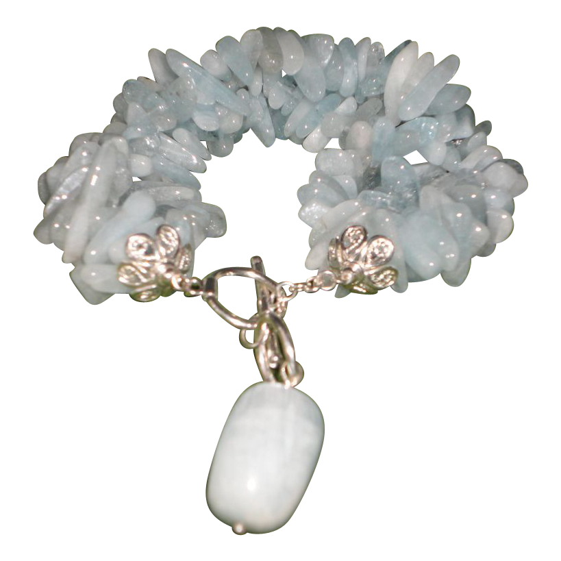 A Flawless Aqua Marine Nuggets, Silver Tone Bracelet.
