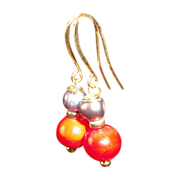 Exquisite Red Polished Corals And Gray Cultured Pearls Gold Plated Earrings.