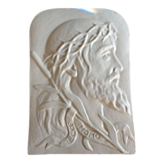 SALE Vintage Ecce Homo White Porcelain Wall Hang Plaque Christ.