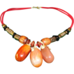 A Dainty Orange Brown-Color  Round Oval Shaped Sardonyx  Necklace.