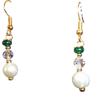 SALE Exquisite Emerald, Cultured Pearl, Crystal Gold Plated Hook Earrings.