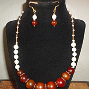 REDUCED Exquisite Amber,Cultured Pearls And Czech Glass Necklace Earrings Set