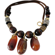SALE Sardonyx Cabochon And Wood Faux Suede Cord Necklace.