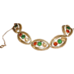 Vintage Silver Plated Multi- Color Crystals Bracelet.