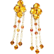 Vintage Citrine Crystals Pierced Earrings By Dana
