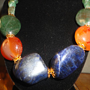 SALE A Snazzy Lapis Lazuli, Carnelians And Egyptian Aventurine Gold Tone Necklace Earrings Set