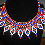 SALE Vintage Native American Beaded Collar Necklace In Gorgeous Vivid Colors.