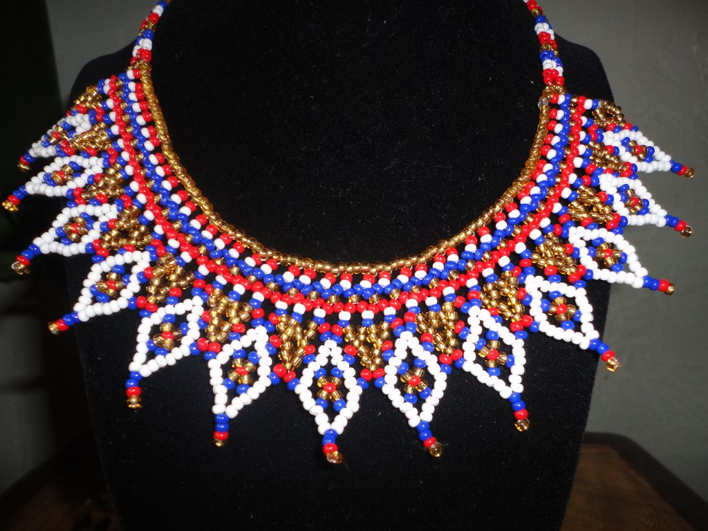 Vintage Native American Beaded Collar Necklace In Gorgeous Vivid Colors.