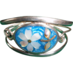 A Vintage Exquisite Stunning Silver Cuff Mother Of Pearl Filigree Enamel Bracelet