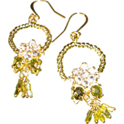 SALE Faceted Chrysoberyl Bali Crystals Czech Glass Gold Plated Hooks Earrings.