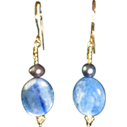 Blue Agate and Gray Cultured Pear Gold Plated Hook Earrings.