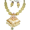 Astonishing Faceted Sulphur Round Beads ,Cultured Pearl And Bali Pendant Necklace.