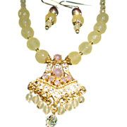 SALE Astonishing Faceted Sulphur Round Beads ,Cultured Pearl And Bali Pendant Necklace.