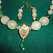 SALE Beautiful Jade Necklace In Various Type Of Green and Green Enamel Necklace Earrings Set