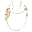 Splendid Quartz,Opal, Cultured, Fresh Water Of Pearl Vintage Motive Long Necklace Set.