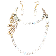 REDUCED Splendid Quartz,Opal, Cultured, Fresh Water Of Pearl Vintage Motive Long Necklace Set.