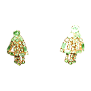 SALE Stunning Shiny Vintage Peridot Crystals Clip-On Earrings