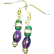 Magnificent Emeralds And Amethyst Gold Plated Hook Earrings.