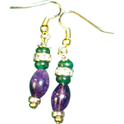 SALE Magnificent Emeralds And Amethyst Gold Plated Hook Earrings.