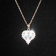 Spectacular Diamond Aura Heart Necklace Sterling Silver Chain..
