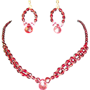 SALE Fabulous Red Wine Pink Crystals Lucite Necklace Set.