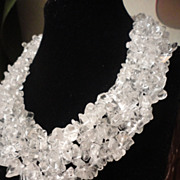 SALE Flawless Clear Quartz Tumbled Chip Collar Necklace.
