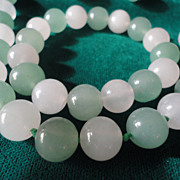 SALE Elegant Round White Chalcedony And Green Jade Necklace Bracelet Set.