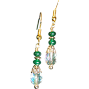 SALE Green Emeralds With Austrian Crystals Gold Plated Hook Earrings.