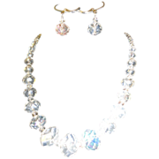 SALE Dazzling  Austrian Faceted Crystals Necklace Set.