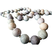 SALE Vintage Japanese Pastel Colors Ceramic Necklace.