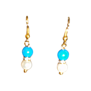 SALE Polished Turquoise, Water Of Pearls, Swarovski  Crystals Earrings.