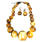 SALE Stunning Tiger Eye Round Beads Necklace Earrings Set.